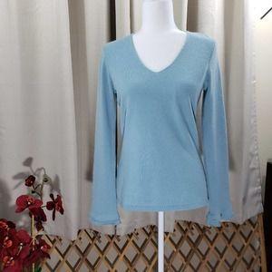 ANN TAYLOR CASHMERE Light Blue V-Neck Sweater